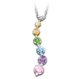 Facets Of Faith Gemstone Sterling Silver Pendant Necklace