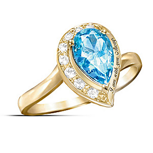 """""""I Am With You Always"""" Blue Topaz Journey Ring"""