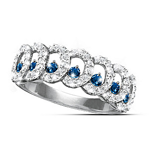 """Serenity"" Eternity Ring With 6 Diamonds, 7 Sapphires"