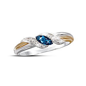 """Marquise-Cut Sapphire and Pavé Diamond """"Embrace"""" Ring"""