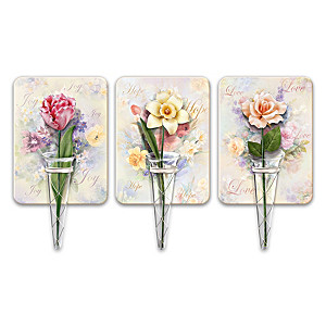 Lena Liu Wall Plaques With Glass Vases And Porcelain Flowers