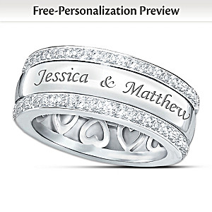 """""""Forever Love"""" 12-Diamond Spinning Band Personalized Ring"""