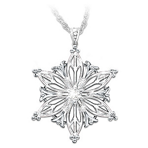 Diamond Snowflake Pendant With Poem For Granddaughter