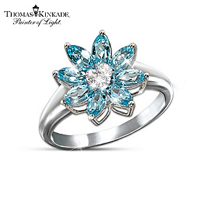 """Exclusive Blue Topaz And Diamond """"Snowflake"""" Ring"""