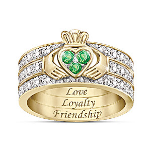 """""""Blessing Of The Claddagh"""" Emerald & Diamond Ring"""