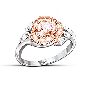 Pink Cubic Zirconia Rose Ring Aids Breast Cancer Research