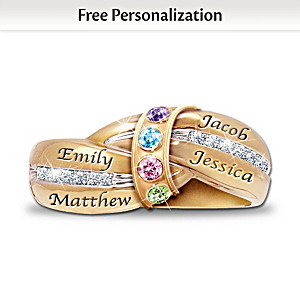 """""""A Mother's Embrace"""" Ring With Birthstones And Names"""