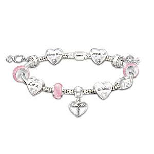 Nurse Charm Bracelet With 11 Charms And Swarovski Crystals