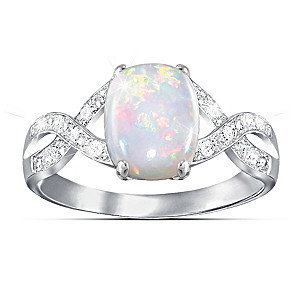 Women's Australian Opal Ring With 12 Diamonds