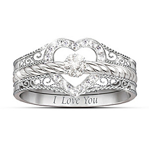 """Engraved """"I Love You"""" 3-Band Stackable Diamond Rings"""