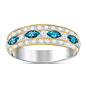 Eternity-Style Ring With Genuine London Blue And White Topaz