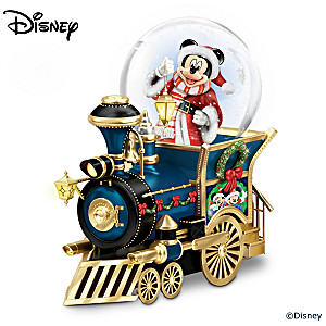 Disney Mickey Mouse Christmas Musical Locomotive Snowglobe