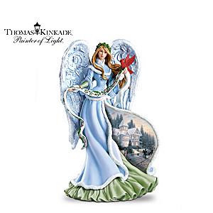 "Thomas Kinkade ""Holly Angel"" Illuminating Angel Figurine"
