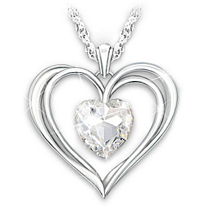 Open Heart Pendant With Swarovski Crystal For Daughter