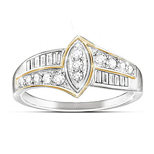 """""""The Marquise"""" Sterling Silver Ring With 24 Genuine Diamonds"""