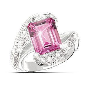 Emerald-Cut Passion Pink Topaz Ring