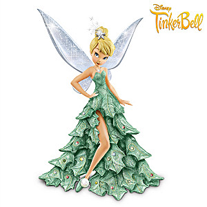 Disney Tinker Bell Figurine In Sparkling Christmas Tree Gown