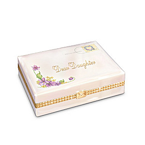 """Dear Daughter"" Letter-Shaped Porcelain Music Box"