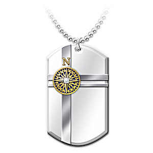 """""""True North"""" Pendant Necklace Engraved With National Anthem"""