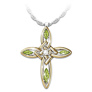 """Infinite Blessings"" Diamond & Peridot Celtic Cross Pendant"