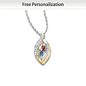 Together In Love Personalized Birthstone Pendant Necklace