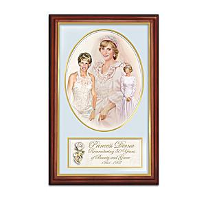 Framed Princess Diana 50th Birthday Tribute Print On Canvas