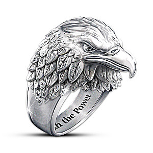 """Stainless Steel """"Strength And Pride"""" Eagle Ring"""