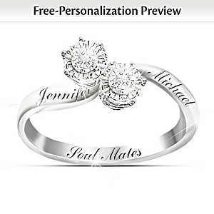 """""""Soul Mates"""" Personalized Diamond Ring With 2 Engraved Names"""