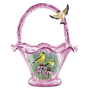 James Hautman Goldfinch Splendour Hand-Blown Art Glass Bowl