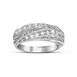 """Diamond Elegance"" Filigree Ring With 12 Diamonds"