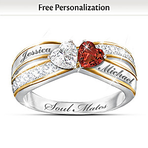 """""""Two Hearts Become Soul Mates"""" Topaz & Garnet Engraved Ring"""