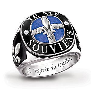 """The Spirit Of Quebec"" Sterling Silver Engraved Men's Ring"