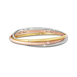 Engraved Tri-Colour Bracelets With Swarovski Crystals