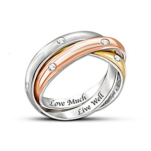 """""""Live Well, Love Much, Laugh Often"""" Tri-Colour Engraved Ring"""
