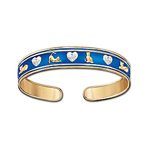 """""""Cats Fill A Heart With Love"""" Enamel Bracelet With Crystals"""