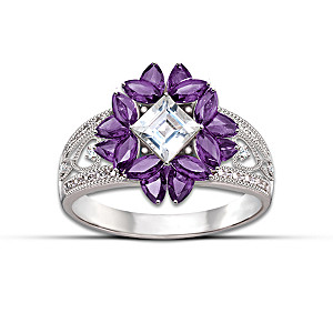 """""""Twilight Lavender"""" Amethyst And Topaz Ring"""