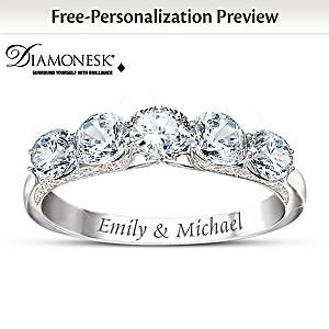 Diamonesk Name-Engraved Anniversary Ring