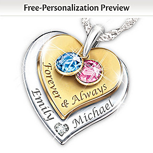 """""""Forever & Always"""" Engraved Couples Birthstone Necklace"""