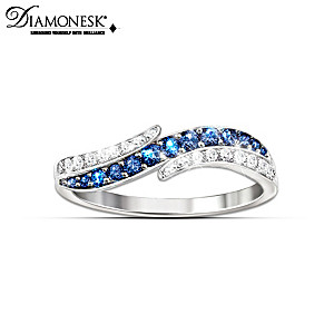 """""""Tranquil Reflections"""" Sterling Silver Diamonesk Ring"""