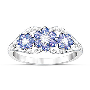 """""""African Violets"""" Tanzanite And Diamond Ring"""