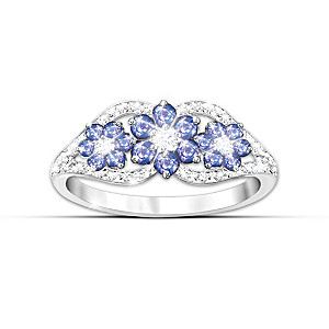 African Violets Tanzanite And Diamond Ring Size 6-1/2