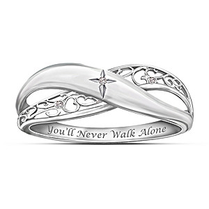 """""""Pure Faith"""" Engraved Sterling Silver Diamond Ring"""
