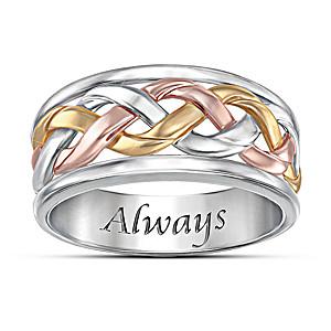 Three-Cord Tri-Color Religious Men's Ring