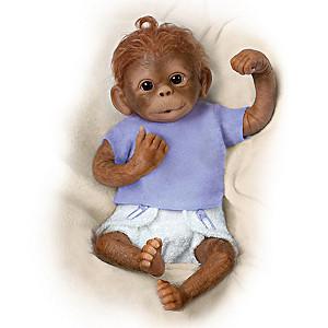 """""""Jo Jo"""" Poseable Lifelike Baby Monkey Doll By Linda Murray"""