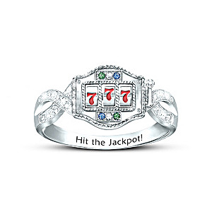 """""""Lucky Jackpot"""" Crystal Ring With Spinning Slot Machine"""