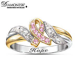 """""""Hope's Embrace"""" Breast Cancer Support Engraved Ring"""