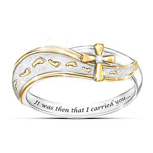 """""""Footprints In The Sand"""" Diamond Cross Engraved Ring"""