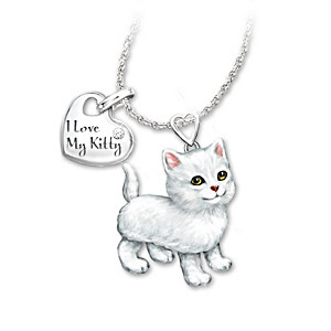 White Cat Diamond Pendant Necklace: Legs & Tail Move