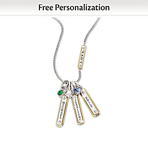 Family Pendant Personalized With Names And Birthstones