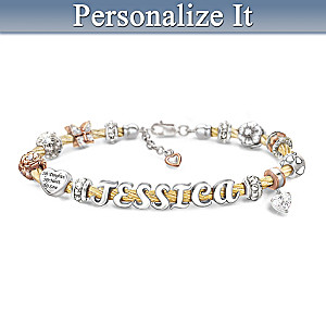 Custom Cable Bracelet With Daughter's Name In Letter Beads
